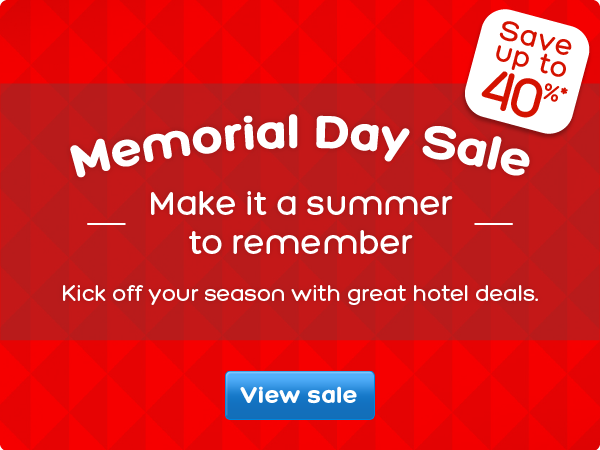Save up to 40% off memorial day hotel sale at  Hotels.com