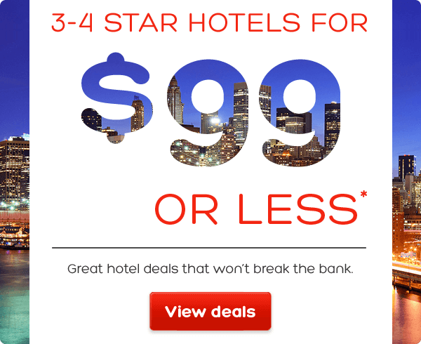 3-4 star hotels for $99 or less* Great hotel deals that won't break the bank | Hotels.com - $99 Or Less